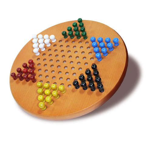 WE Games Solid Wood Chinese Checkers with Wooden Pegs - 11.5 inch Diameter (Standard Checkers Chinese)
