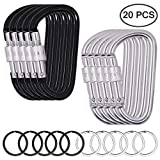 """3"""" D Shape Spring Loaded Strong and Lightweight Carabiners Clip, DaKuan 10 Packs Outdoor Screw-Lock Hooks Bonus 10 pcs Stainless Steel Keychain"""