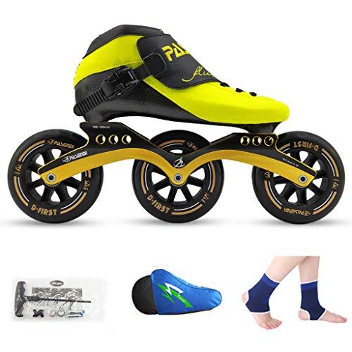 傾く商人花LIUXUEPING ローラースケート、 スピードスケート靴、 レーシングシューズ、 子供の大人のプロスケート、 男性と女性のインラインスケート (色 : Black shoes+black wheels, サイズ さいず : 45)