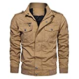 MIS1950s Trend Men's Motorcycle Jacket Autumn Winter Military Clothing Tactical Outwear Stand Collar Cargo Coat