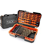 50Pcs Drill Bits Set, DNS01 20 Titanium Drill Bits Set, 24 Screwdriver Bits, 5 Nut Drivers with Strong Magnetism for All Brands High Torque Drills, with Patented Solid Case