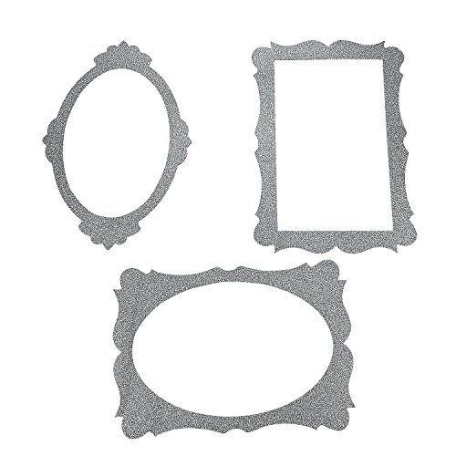Silver Glitter Picture Frame Cutouts - 3 Piece Set - 16 X - Cardboard Photo Booth Frame