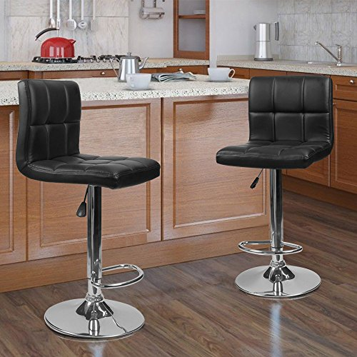 Amazon Kitchen Bar Stools: Homall Bar Stools Swivel Black Bonded Leather Barstool