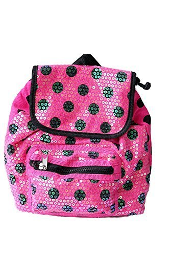 Pink and Black Polka Dot Print Toddler Little Girls' Sequined Drawstring (Sequined Drawstring)