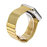 Wristband Watch Strap For Apple Watch Series 1/2 38mm, Saying Brand New Mesh Milanese Stainless Steel Watch Band Strap (Gold)