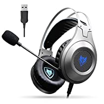 Jeecoo USB Gaming Headset Over-Ear PC Gaming Headphones with Microphone Stereo Sound Bass for Computer Laptop Tablet PC