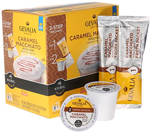 Gevalia Caramel Macchiato Espresso Coffee with Froth Packets, K-Cup Pods, 9 Count Coffee Store