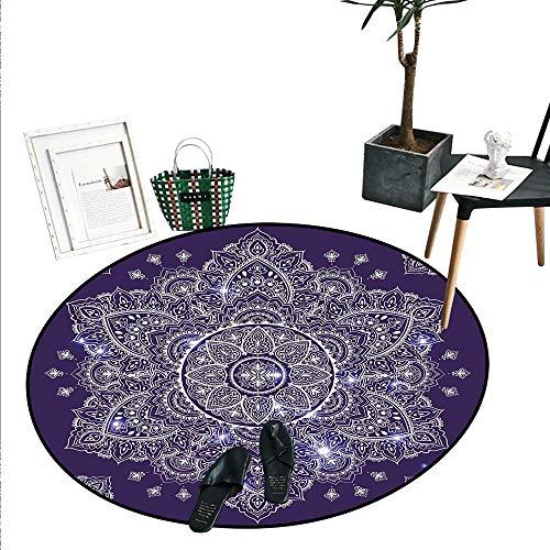 Ethnic Bathroom Round Area Rug Carpet Ethnic Floral Ornament Tribal Spring Round Mandala with Paisley Inspired Retro Non Slip Round Rugs (2'6