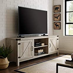Farmhouse Living Room Furniture Walker Edison Modern Farmhouse Barn Wood Stand for Flat Screen TV's up to 80″, Storage Cabinet Doors and Shelves, Entertainment Center, 70 Inch, White Oak farmhouse tv stands