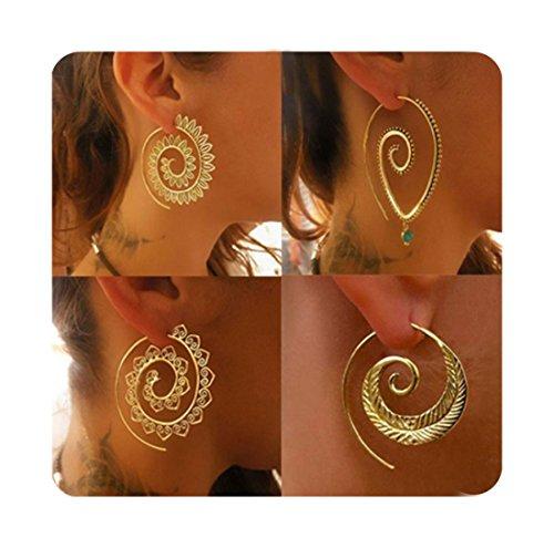Cyntan Dangle Gypsy Hoop Earring Spiral Hoops Earrings