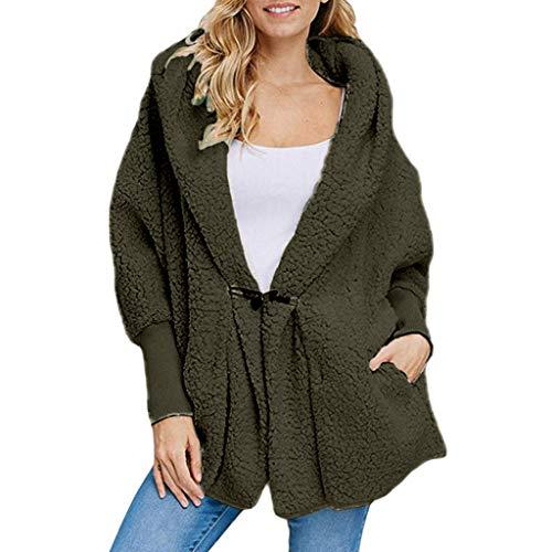 Price comparison product image Clearance! MatureGirl Cloak Women's Fashion Button Pocket Winter Hooded Long Sleeve Plush Coat Overcoat Coats (Army Green,  2X-Large)