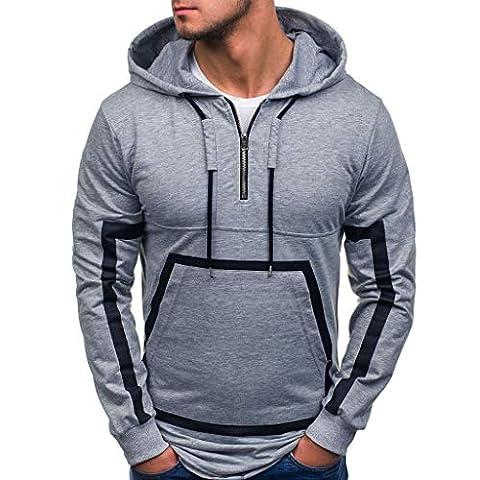 Fastbot Men's Blend Sweatshirt Splicing Zipper Pullover Long Sleeve Hooded Tops Blouse