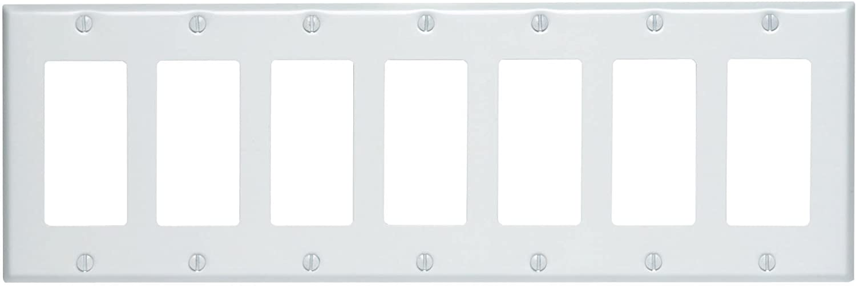 Leviton 80407-W 7-Gang Decora/GFCI Device Decora Wallplate, Painted Metal, Device Mount, White