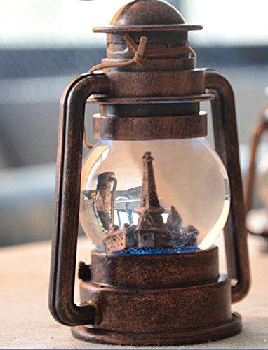 Greencherry Vintage Bronze Color Barn Lantern Hurricane Lamp LED Crystal Ball (Small)