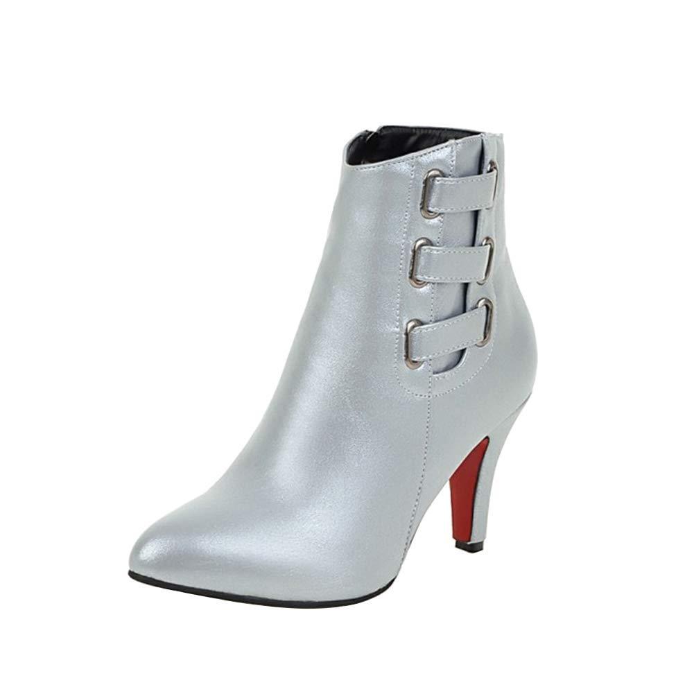 Damen Mode Spitz Seitlicher Reißverschluss Stiefeletten Konische Ferse Erhöhen Samt Warm halten Stiefelies Freizeit Täglich Stiefel (Absatzhöhe  8cm)