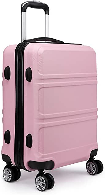 """Kono Fashion Hand Luggage Lightweight ABS Hard Shell Trolley Travel Suitcase with 4 Wheels Cabin Carry-on Suitcases (20"""", Pink)"""