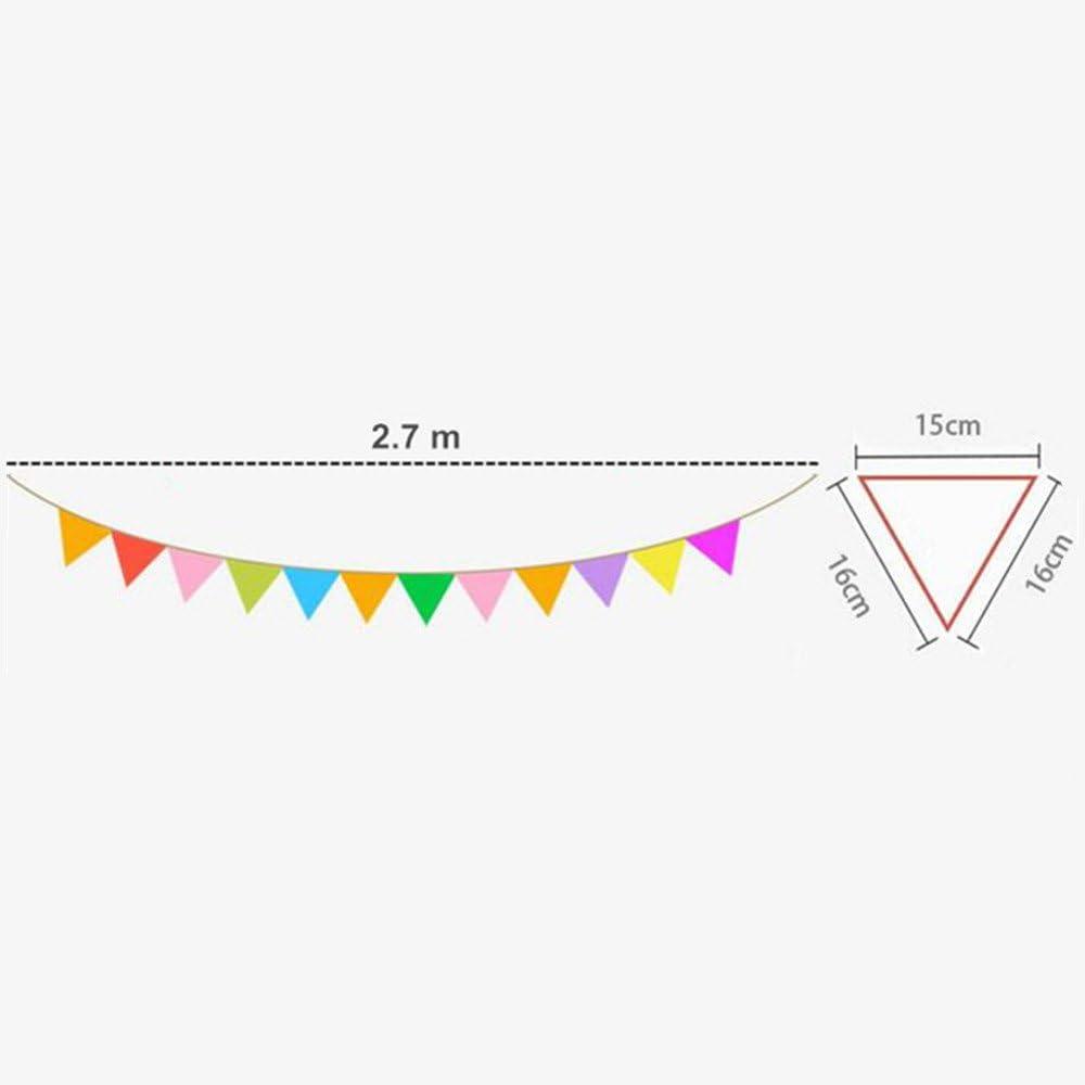 B/•You Bunting Flags,Bandera Bander/ín Reutilizable de Doble Cara Tela 12 Banderas Bandera del Partido para Boda Cumplea/ños Fiesta Jard/ín de Infancia Decoraci/ón 2.7m
