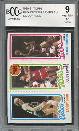 1980 Rookie Card (1980-81 topps #6 LARRY BIRD /ERVING / MAGIC JOHNSON rookie card BGS BCCG 9 Graded Card)