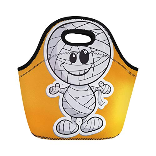 Semtomn Lunch Tote Bag Funny Cute Halloween Character Mummy Dead Scary Ancient Baby Reusable Neoprene Insulated Thermal Outdoor Picnic Lunchbox for Men -