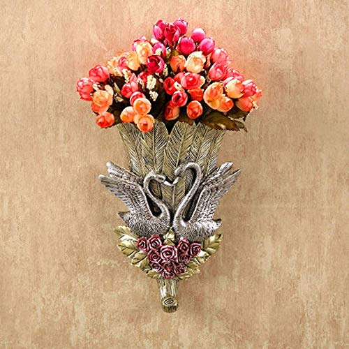 LuxeArt Swan Arts Crafts Creative Elegant Hand Painted Swan Wall Decoration Hanging Plugged Vase Hook Resin Home Wall Accessories, Presents 5 Bouquet of Small Roses As A Gift, Silver Swan