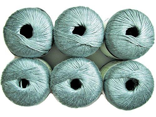 Silk Bamboo Yarn, 2.2oz, 6-Pack (Sea) Silk Crochet