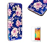 For Samsung Galaxy S8 Case [with Free Screen Protector], Funyye New Retro Artistic Flower Fashion Design Blue Flowers Series Flexible Soft TPU Cover for Samsung Galaxy S8-Pinkish Purple Rose