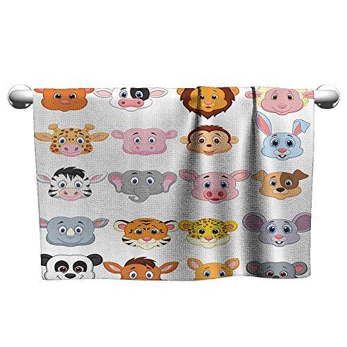 (DUCKIL Personalized Hand Towels Cartoon Kids Decoration Baby Animals Lions Pigs Cows Farm Safari Baby Nursery Room Image Interesting Bath Sheet 35 x 12 inch Multicolor)