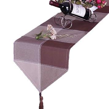 TABLE RUNNER Rejilla de Mesa, Mantel de minimalismo Europeo, Toalla casera Multifuncional de la Cama del Hotel hogar (Color : Brown, Tamaño : 33 * 200cm): ...