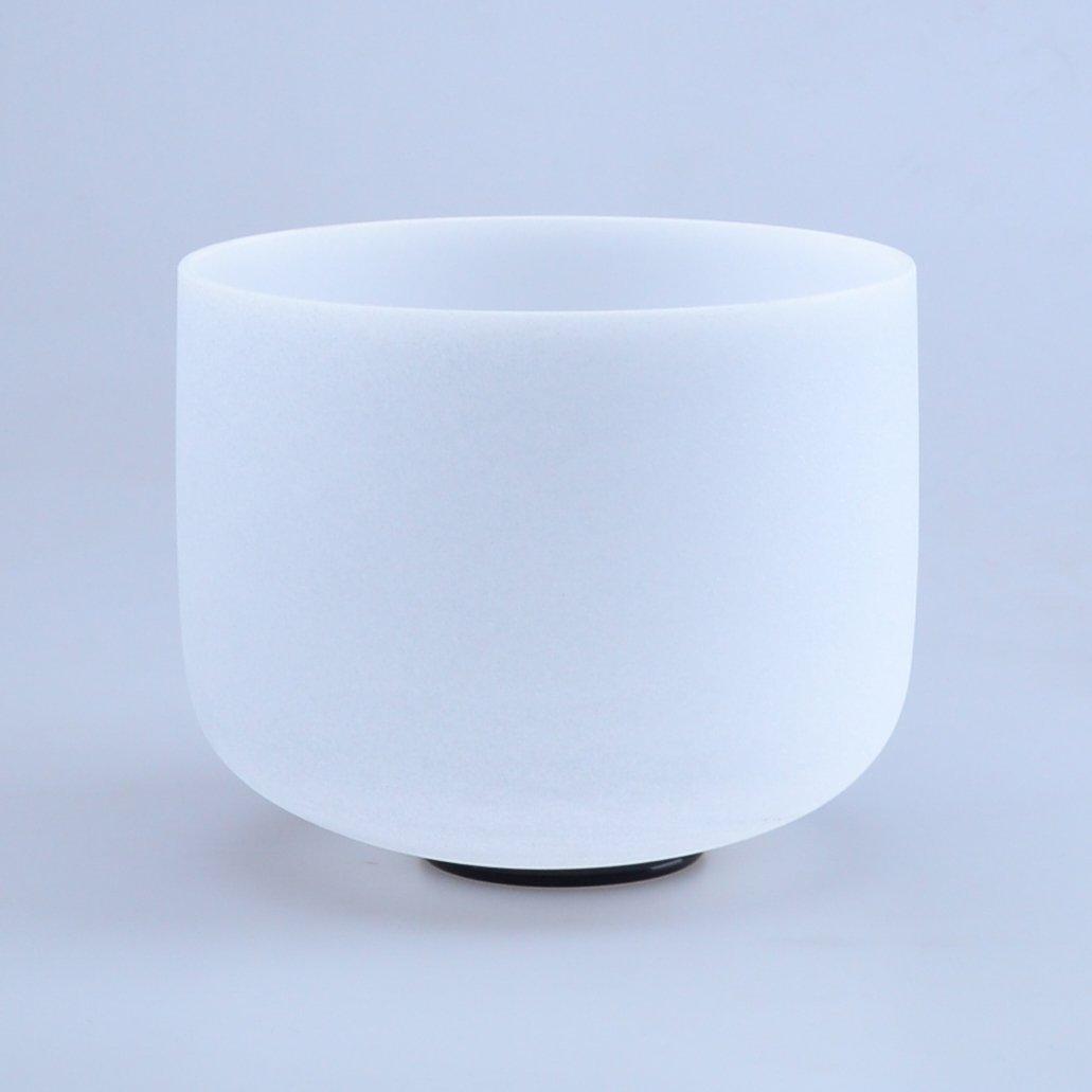 瞑想や治癒に優れ 10インチ ホワイトクリスタル シンギングボウル スエードマレット付き (10インチ) B07DLQW388 10インチ