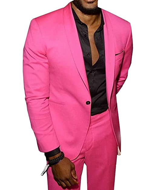 RONGKIM Mens Hot Pink Shawl Lapel Casual Suit 2 Pieces ...