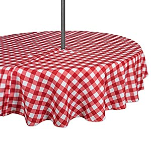 """DII 100% Polyester, Spill proof and Waterproof, Machine Washable, Outdoor Tablecloth With Zipper and Umbrella Hole, 52"""" Round, Red Check, Seats 4 People"""