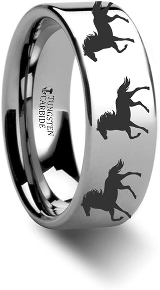 8mm Animal Horse Print Ring Engraved Flat Tungsten Ring