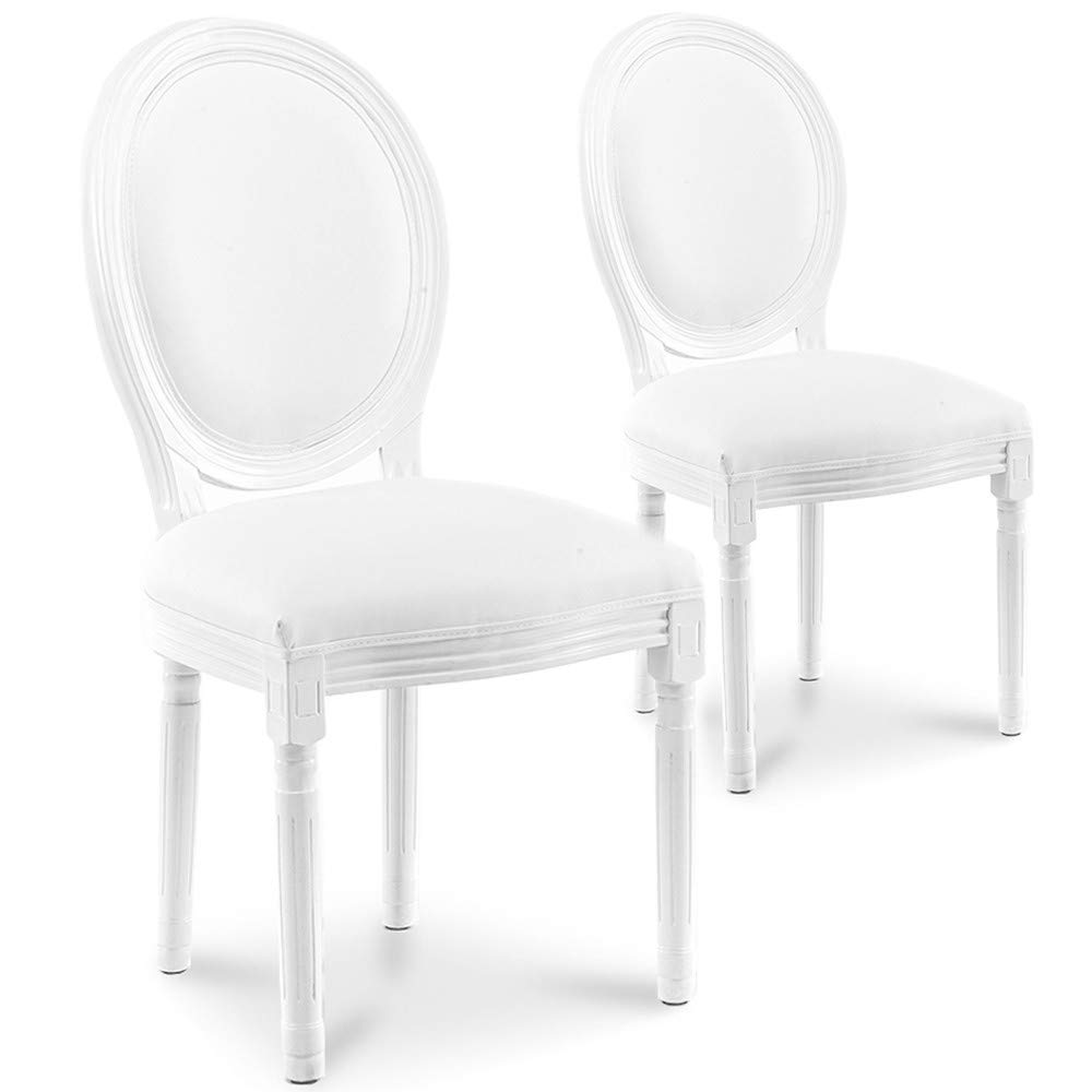 INTENSEDECO Lot de 2 chaises m/édaillon Louis XVI Simili Blanc