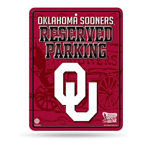 NCAA Oklahoma Sooners 8-Inch by 11-Inch Metal Parking Sign ()