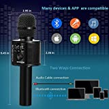 BONAOK Wireless Bluetooth Karaoke Microphone,3-in-1 Handheld Portable Speaker Machine for Android/iPhone/iPad/Sony/PC or All Smartphone(Black)