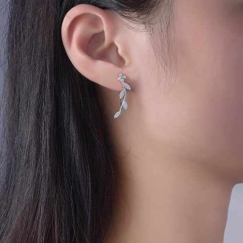 Ear Crawler Earrings for Women Ear Climber Cuff Earrings Silver Leaf CZ by DIDa (Image #2)