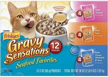 Friskies Gravy Sensations Seafood Favorites Cat Food Variety Pack 12-3 oz. Pouches includes 4 each Salmon In Gravy, Tuna In Gravy, and Ocean Whitefish Tuna