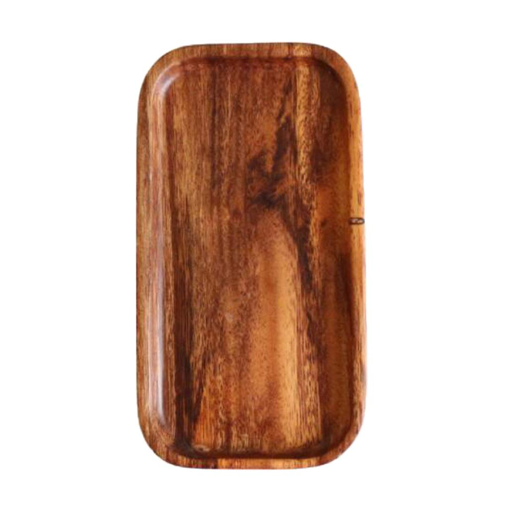 B Blesiya Natural Wood Dish Pizza Board Wooden Round Plate/Serving Food or Bakery - Rectangular S