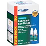 Equate Long Lasting Lubricant Eye Drops TWIN PACK, Compare to Systane by Equate