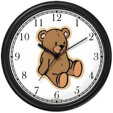 Plain Teddy - Bear Animal Wall Clock by WatchBuddy Timepieces (Black Frame) ()