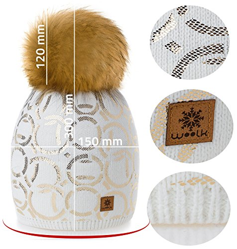 Snowboard Fleece Circle Bobble Forro Big Con Punto Winter de Lana Ski Girls 1 4sold Modelo Gonnet Pom Crudo Cap Women aOq6Cw