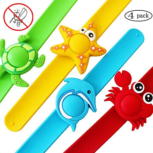 Coolfire 4 Pack Natural Mosquito Repellent Slap On Bracelets Wristband for Kids Baby. Bug Insect Repeller Bracelets DEET Free