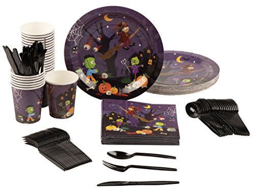 Disposable Dinnerware Set - Serves 24 - Halloween Party Supplies with Witch and Monsters for Kids, Includes Plastic Knives, Spoons, Forks, Paper Plates, Napkins, Cups