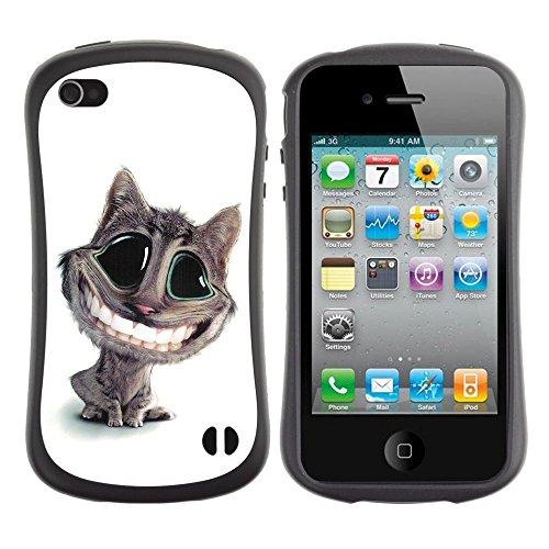 Apple iPhone 4 / iPhone 4S ( Cat Big Smile Teeth White Feline Art Cartoon )
