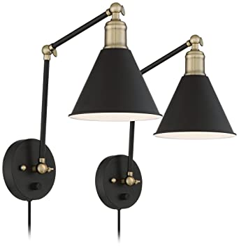Wray Black and Antique Brass Plug-In Wall L& Set of 2  sc 1 st  Amazon.com & Wray Black and Antique Brass Plug-In Wall Lamp Set of 2 - - Amazon.com azcodes.com