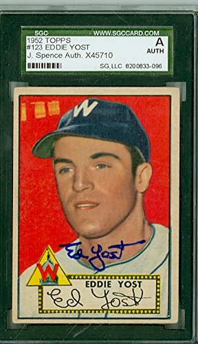 Eddie Yost AUTOGRAPH d.12 1952 Topps #123 Washington Sena...