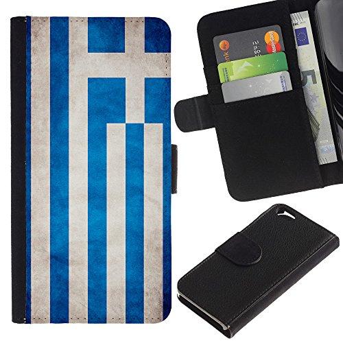 EuroCase - Apple Iphone 6 4.7 - Greece Grunge Flag - Cuir PU Coverture Shell Armure Coque Coq Cas Etui Housse Case Cover
