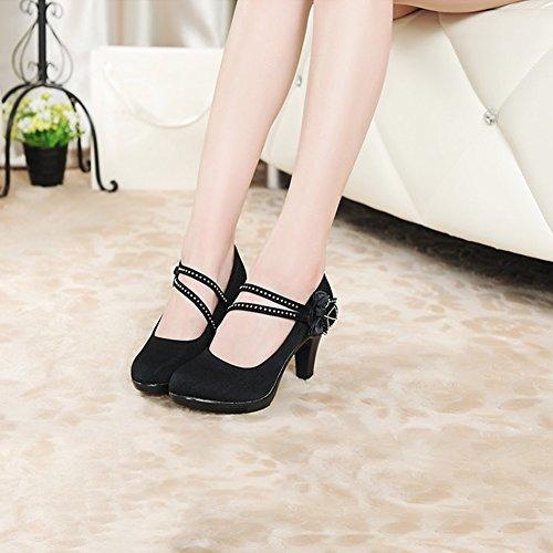 5 CN37 talons taille Escarpins Chaussures grossiers XUERUI Diamonds EU37 Arcs banlieue Mode UK4 5 Pompes wO8qq6AR
