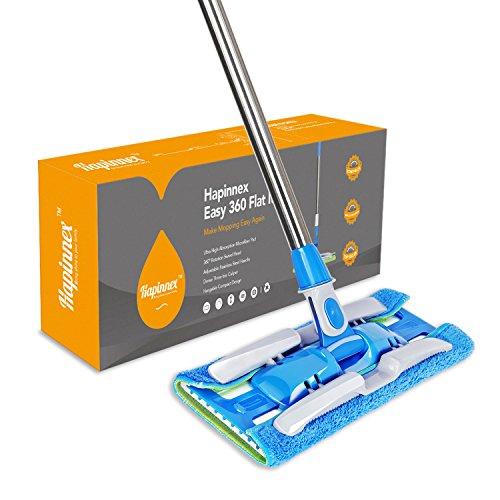 Hapinnex Easy 360° Flat Mop (4-Pack) Reversible Microfiber Mop Cloths and Standard Pads | Washable, Reusable | Wet or Dry Cleaning Kitchen, Bathroom, Hardwood Floors Flat Mop