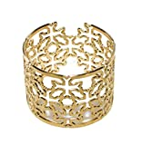 Unisex Gold Plated Adjustable Cuff Bracelet Celtic Cross Bangle Laser Cut Irish Geometric Cross Pattern